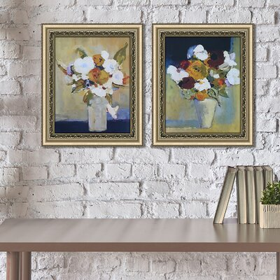'Morning Bouquet' 2 Piece Framed Acrylic Painting Print Set