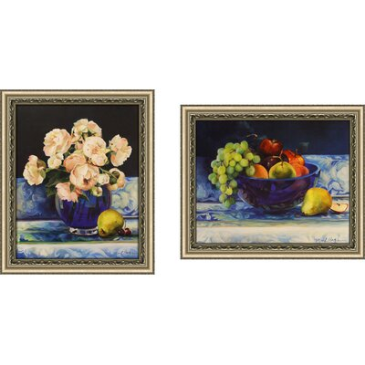 'Peonies and Fruit in Cobalt' 2 Piece Framed Acrylic Painting Print Set