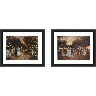 Image of 'Meeting at the Fountain' 2 Piece Framed Acrylic Painting Print Set