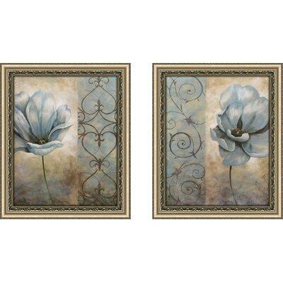 'Fleur Bleue' 2 Piece Framed Acrylic Painting Print Set