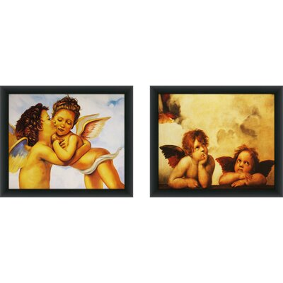 'Angels 3' 2 Piece Framed Acrylic Painting Print Set