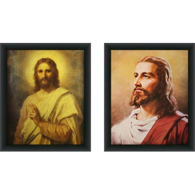 'Jesus' 2 Piece Framed Acrylic Painting Print Set