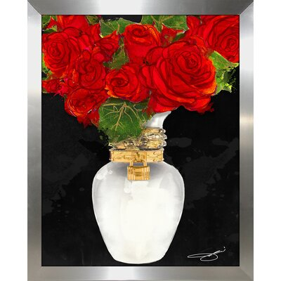 'Flowers in Red' Print Format: Silver Framed Paper, Size: 15.5