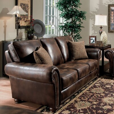 Benson Sofa Color: Dark Brown