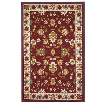 Leicester Oriental Floral Red & Beige Area Rug Rug Size: 8 x 10
