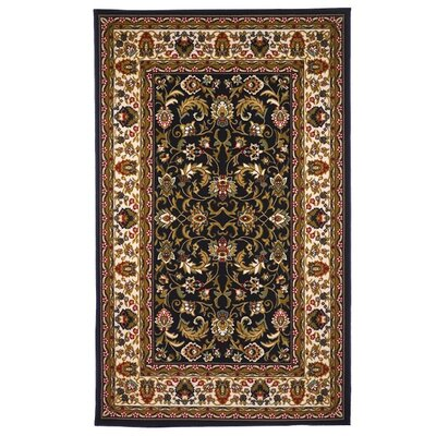 Oriental Floral Black/Brown Area Rug Rug Size: 5' x 8'