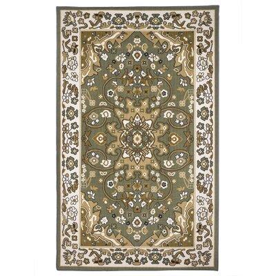Oriental Floral Olive Green/Beige Area Rug Rug Size: 5 x 8