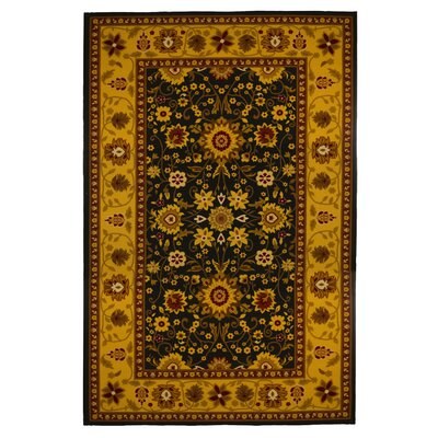 Oriental Floral Gold/Black Area Rug