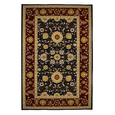 Oriental Floral Burgundy/Black Area Rug Rug Size: 5 x 8