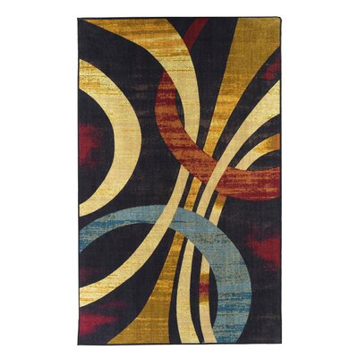 Wavy Circles Yellow/Blue/Red Area Rug Rug Size: Rectangle 5 x 8