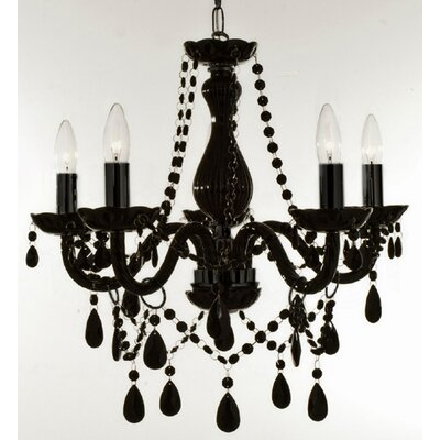 Holton 5-Light Black Crystal Chandelier