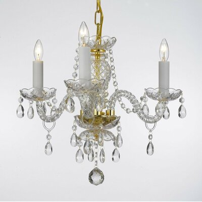 Hunziker 3-Light Crystal Chandelier Finish: Gold