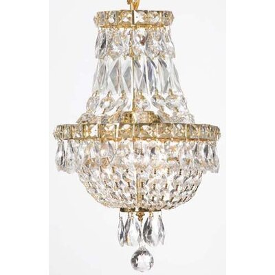 Charvi 3-Light Glass Empire Chandelier Finish: Gold
