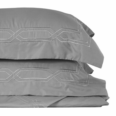 Metropolitan Stitch 3 Piece Duvet Cover Set Color: Gray, Size: Queen