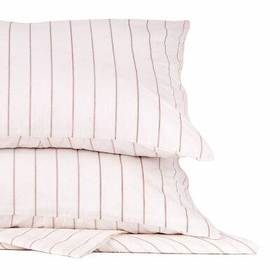 Pinstripe 3 Piece Duvet Cover Set Size: King, Color: Taupe