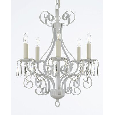 5-Light Candle-Style Chandelier Finish: White