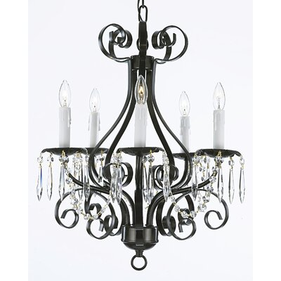 5-Light Candle-Style Chandelier Finish: Black