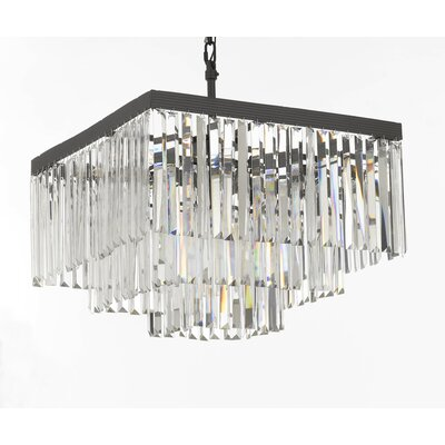 Larrison 9-Light Crystal Chandelier Finish: Gray/Clear