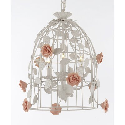 Jacobi Wrought Iron Floral Bird Cage 3-Light LED Mini Chandelier