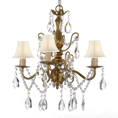 4-Light Shaded Chandelier Shade Color: White