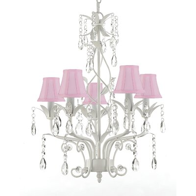 5-Light Shaded Chandelier Shade Color: Pink