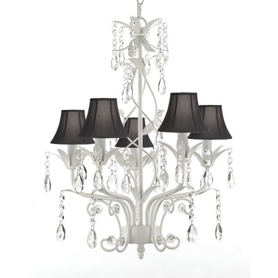 5-Light Shaded Chandelier Shade Color: Black