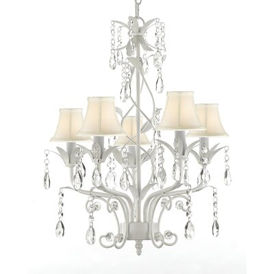 Hutt 5-Light Shaded Chandelier Shade Color: White