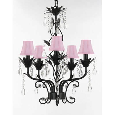 Hutter 5-Light Shaded Chandelier Shade Color: Pink