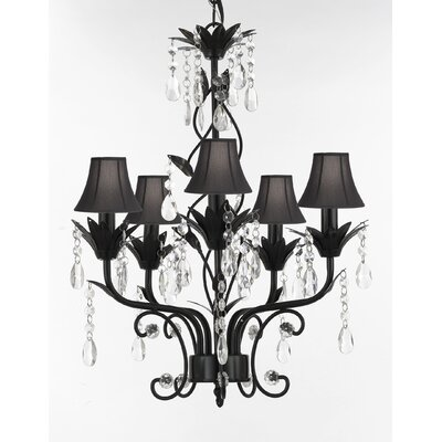 Hutter 5-Light Shaded Chandelier Shade Color: Black