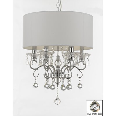 Hutto Faceted Crystal Balls 6-Light Drum Chandelier