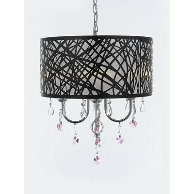 Beldon Heart Crystal 4-Light Drum Chandelier