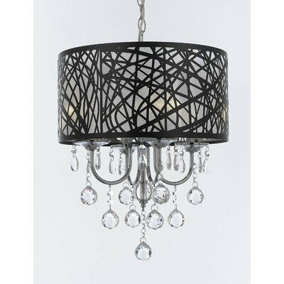 Ingram Ball Crystal 4-Light Drum Chandelier
