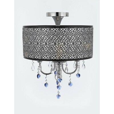 Alshain Bubble Shade Heart Crystal 4-Light Semi Flush Mount Crystal Color: Blue