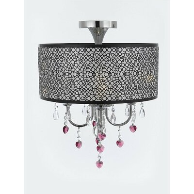 Alshain Bubble Shade Heart Crystal 4-Light Semi Flush Mount Crystal Color: Pink