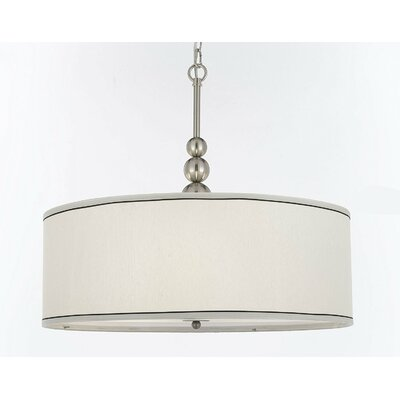 Bayview 3-Light Drum Pendant Finish: Chrome/Cream