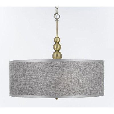 Bayview 3-Light Drum Pendant Finish: Gold/Gray