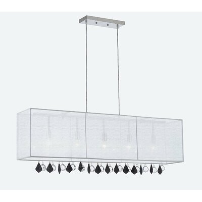 Eirwen Crystal 5-Light Kitchen Island Pendant Shade Color: White, Crystal Color: Clear/Black