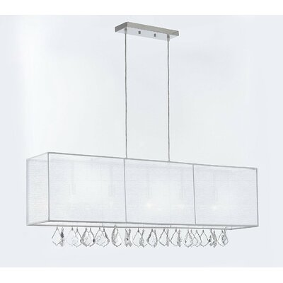 Eile Crystal 5-Light Kitchen Island Pendant Shade Color: White, Crystal Color: Clear