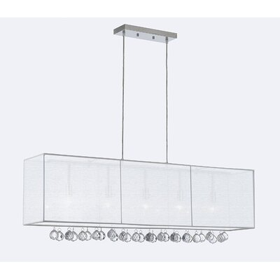 Emblyn Crystal 5-Light Kitchen Island Pendant Shade Color: White