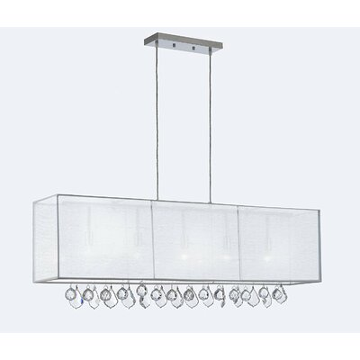 Eirwen Crystal 5-Light Kitchen Island Pendant Shade Color: White, Crystal Color: Clear