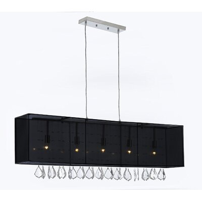 Eile Crystal 5-Light Kitchen Island Pendant Shade Color: Black, Crystal Color: Clear
