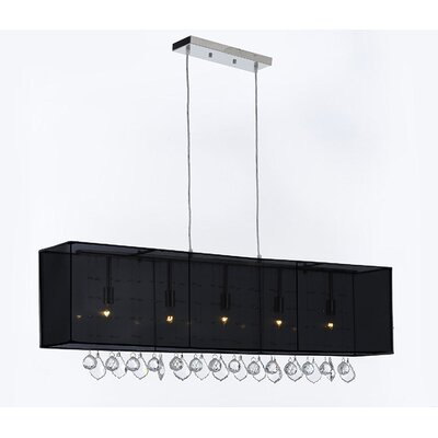 Eirwen Crystal 5-Light Kitchen Island Pendant Shade Color: Black, Crystal Color: Clear