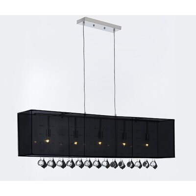Eirwen Crystal 5-Light Kitchen Island Pendant Shade Color: Black, Crystal Color: Clear/Black