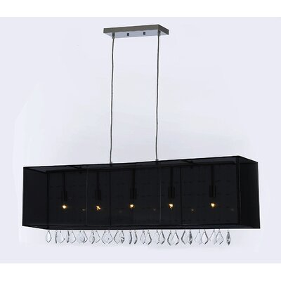 Eile Crystal 5-Light Kitchen Island Pendant Shade Color: Black, Crystal Color: Gray