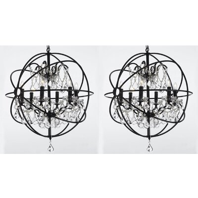 Aguiar Orb Wrought 6-Light Globe Pendant