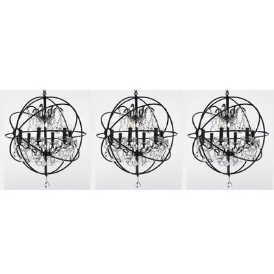 Aguiar Orb Wrought 6-Light Glass Globe Pendant