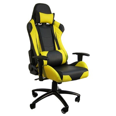 Hi Back Style Racing Gaming Chair Color: Yellow