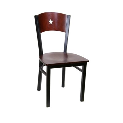 Star Metal Solid Wood Dining Chair (Set of 2) Color: Black