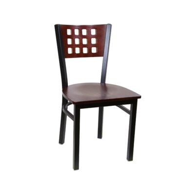 Cutout Metal Solid Wood Dining Chair (Set of 2) Color: Mahogany