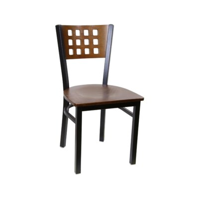 Cutout Metal Solid Wood Dining Chair (Set of 2) Color: Cherry